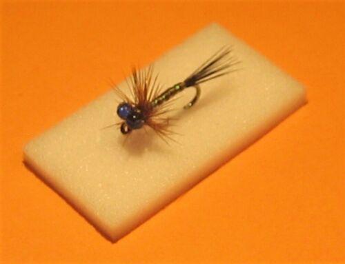"4 X /""Wee De/'il/"" Scotflytyer Nymphs Blue Eyes Size 12 Kamasan Hooks"