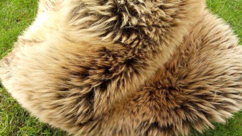 Real Scandinavian Sheepskin Lambskin Fur Top Tanned Cream Braun 100cm