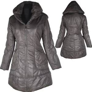 DAMEN WINTER JACKE PARKA BALLON MANTEL 38 40 42 44 46 S M L XL GRAU ANORAK WARM