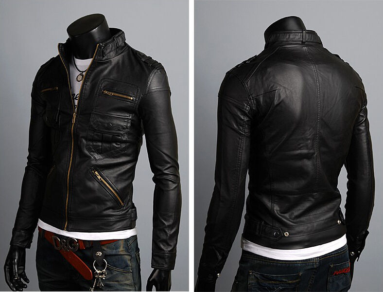 Veste en cuir pour hommes US Hommes veste en cuir Herren Lederjacke chaqueta cuero M16p1
