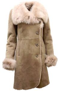 Das Bild wird geladen Damen-warm-beige-Wildleder-Merino-Schafsfell-Mantel -mit- 6f4564a28b