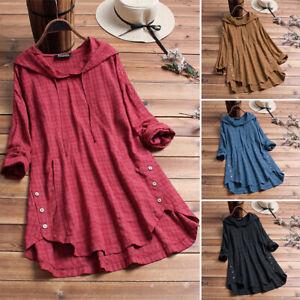 ZANZEA-Women-Asymmetrical-Hem-Shirt-Tops-Hoodies-Plaid-Check-Asymmetrical-Blouse