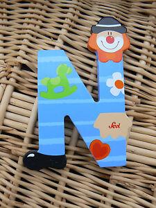 NUOVO-Sevi-81750-Letterina-N-Clown-in-legno-colore-azzurro