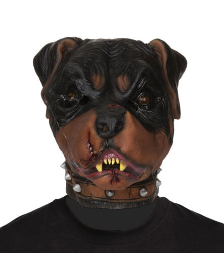 Adulte Zombie Rottweiler Chien Masque Animal Latex Effrayant Halloween Fancy Dress New