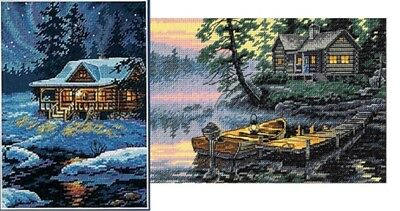 Lot of 2 Counted Cross Stitch Kits MOONLIT CABIN~MORNING LAKE Dimensions