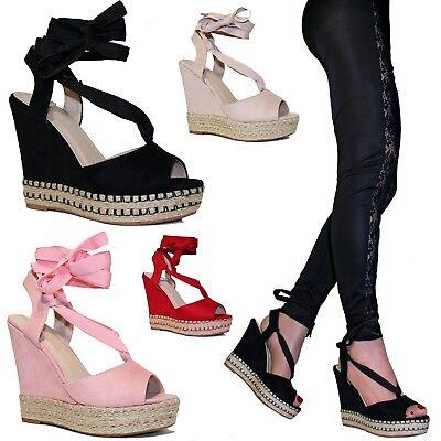 Scarpe donna Sandali Stringati Zeppa Lacci Tacco alto 12,5 alla schiava B89 | eBay