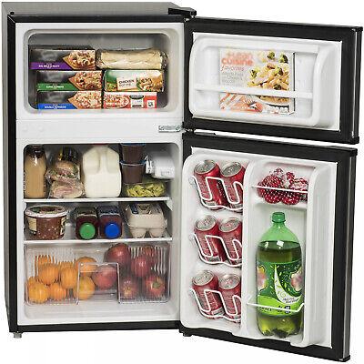 Black Two Door Mini Fridge 3 2 Cu Ft W Freezer Home Office Compact Refrigerator 813084023762 Ebay