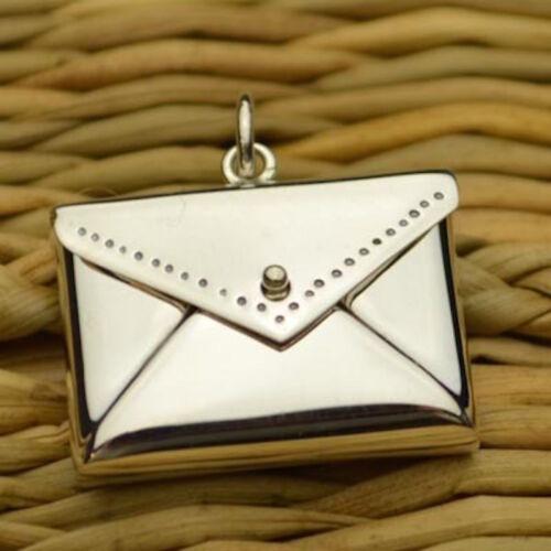 Lettre enveloppe Médaillon 925 Sterling Silver Charm Pendentif Pour Collier Bracelet