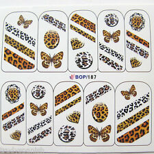 Nail art stickers water decals transfers Leopard Animal Print Lace Butterflies