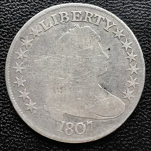 1807 Draped Bust Half Dollar 50c very old, nice coin  #6023