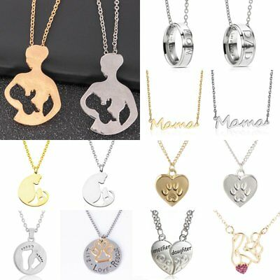Trendy Tag Mother Father Daughter Son Stainless Steel Family Chain Link Necklace