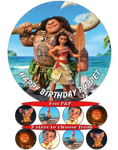 2 20cm 18cm 15cm and 8 cupcake toppers Moana birthday cake icing sheet