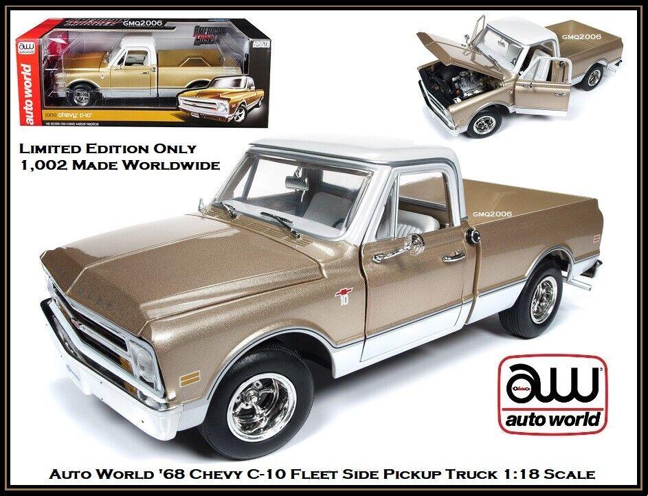 AUTO World da collezione'68 CHEVROLET C10 Pickup 1 18 SCALA DIECAST AUTO LTD. edizione