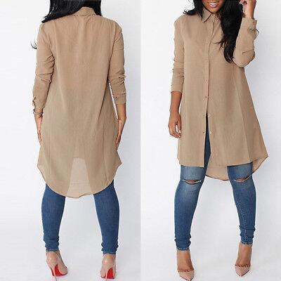 Women Long Sleeve Chiffon Button Down Blouse Shirt Casual Loose Mini Dress New