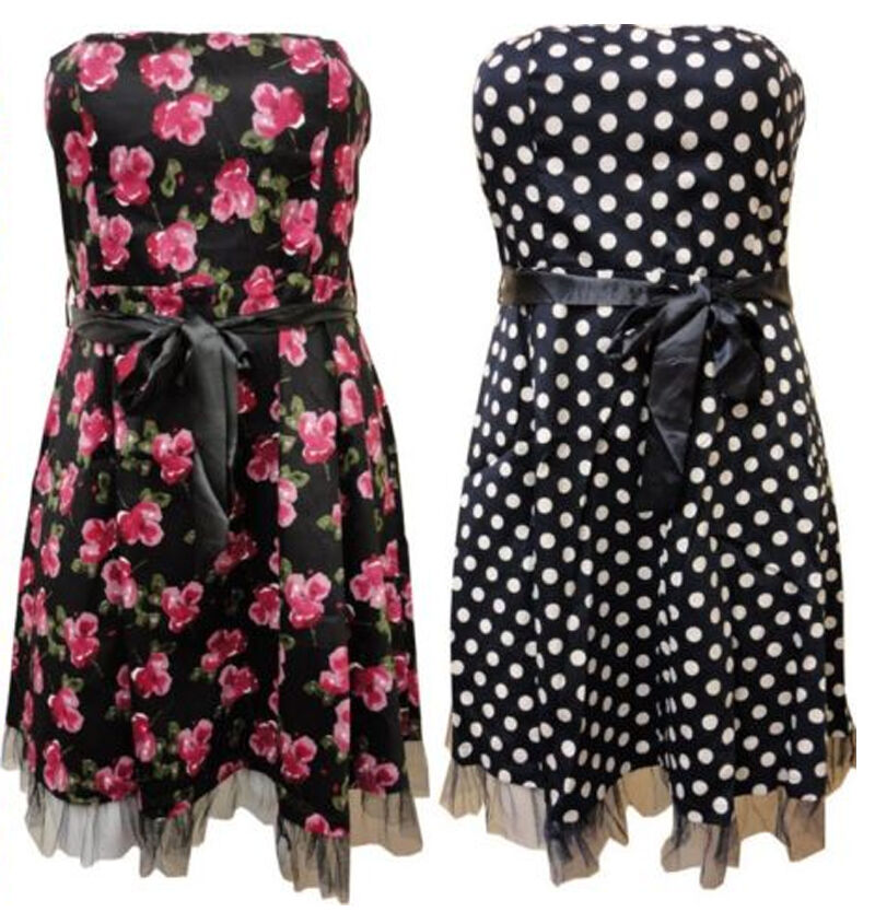 LADIES PLUS SIZE FLORAL POLKA DOT PRINT PROM DRESS GOING OUT PARTY DRESS 16-26