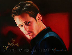Poster-of-original-painting-by-Kristin-Bauer-of-Alexander-Skarsgard-Holiday-SALE