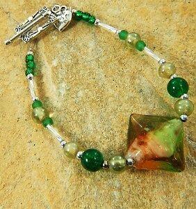 "Green Bead Bracelet 8"" - 389c - Free Uk Post!"