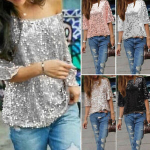 Women-039-s-Casual-Sequin-V-Neck-Blouse-T-Shirt-Half-Sleeve-Tops-Clubwear-Plus-Size