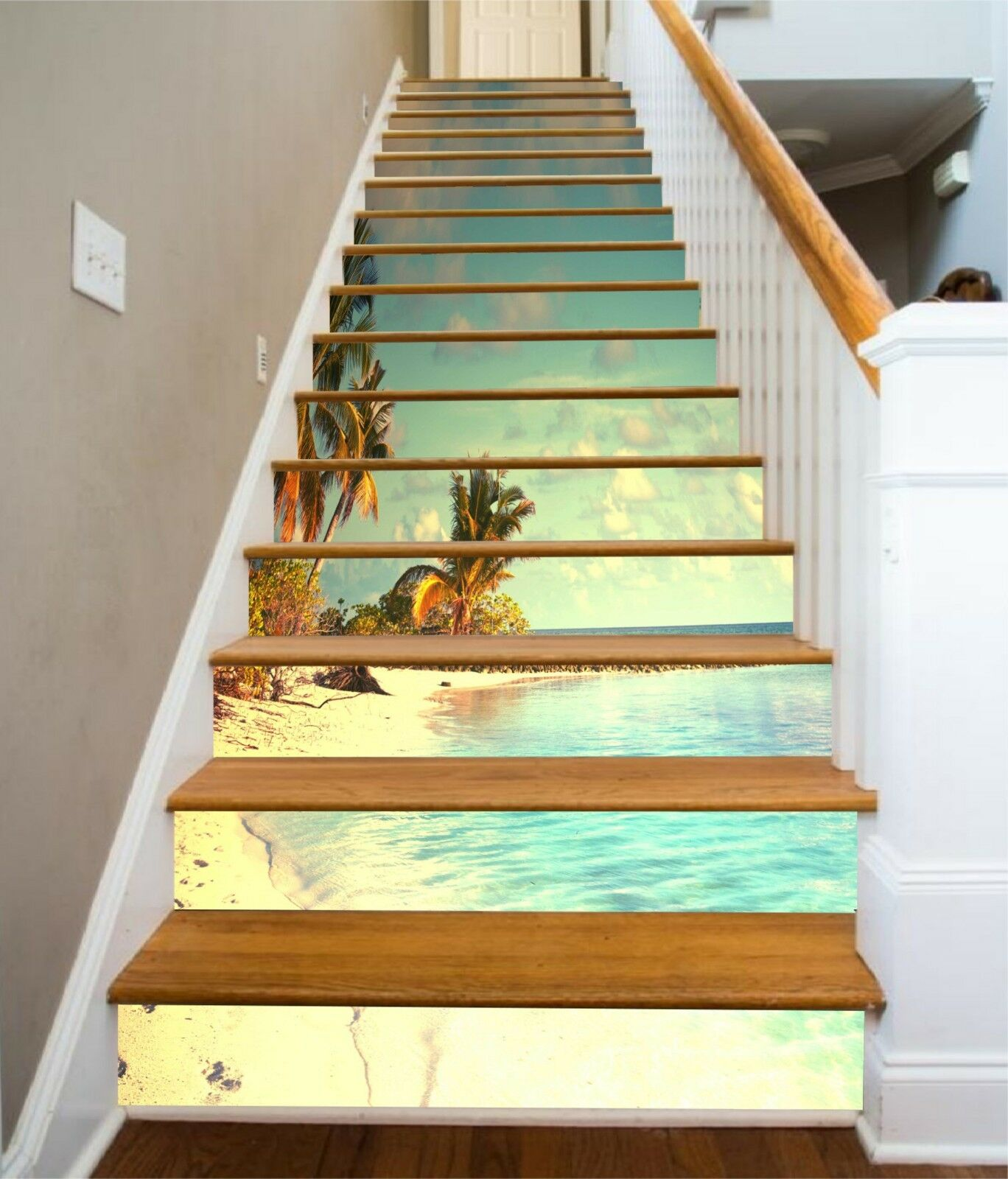 3D Heller Strand 29 Stair Risers Dekoration Fototapete Vinyl Aufkleber Tapete DE