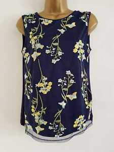 EX-NEW-M-amp-Co-Navy-Yellow-Floral-Print-Mesh-Lace-Summer-Vest-Blouse-Top-Size-10-18