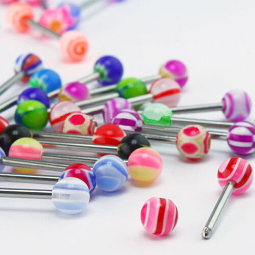 30× Tounge Rings Bars 316L Surgical Steel Barbell Body Piercing Jewelry Advanced