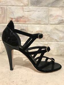 8a887c079 NIB Chanel 17C Black Velvet Patent CC Strappy Buckle Sandal Heel ...