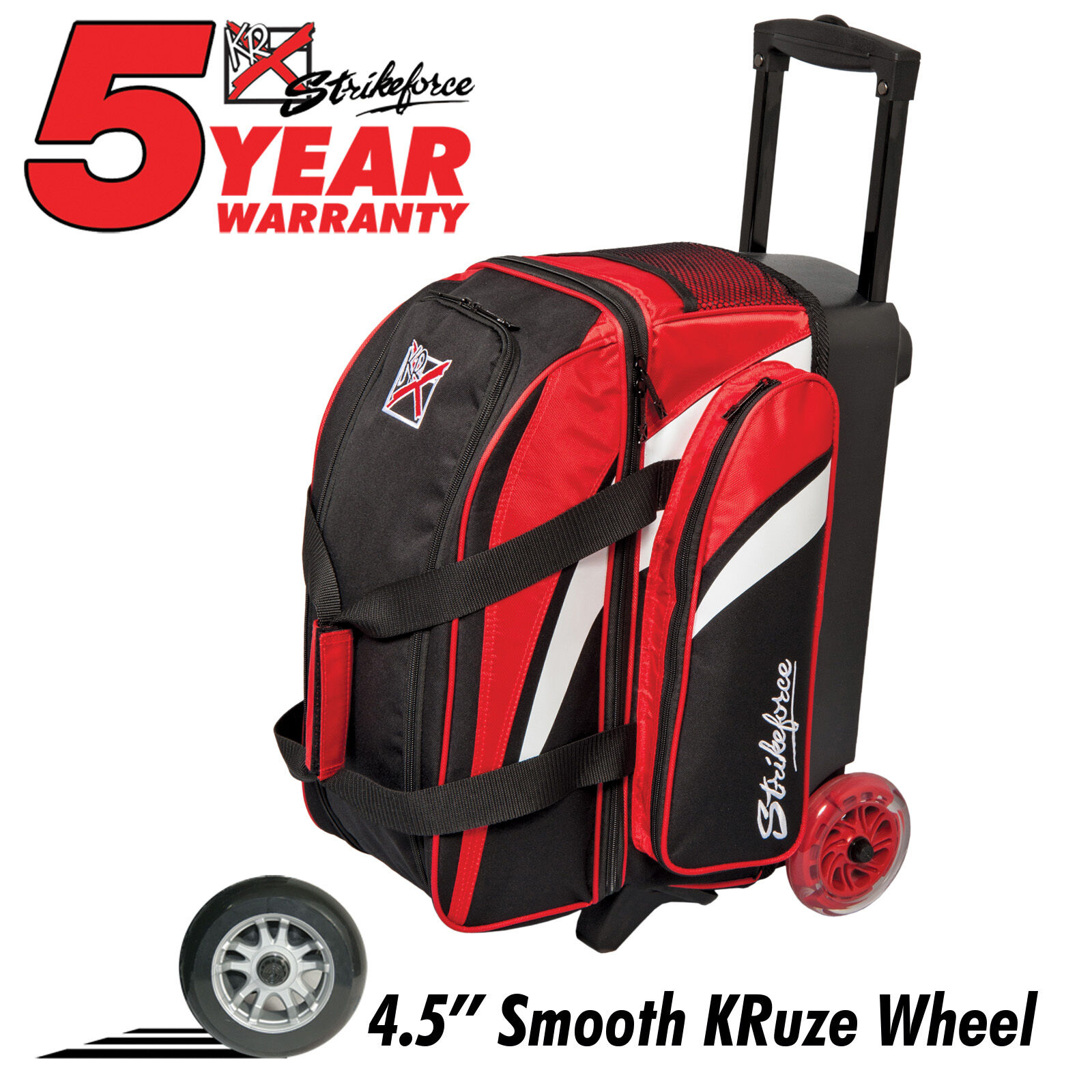 KR Strikeforce Cruiser Smooth Double Roller 2 Ball Bowling Bag Red