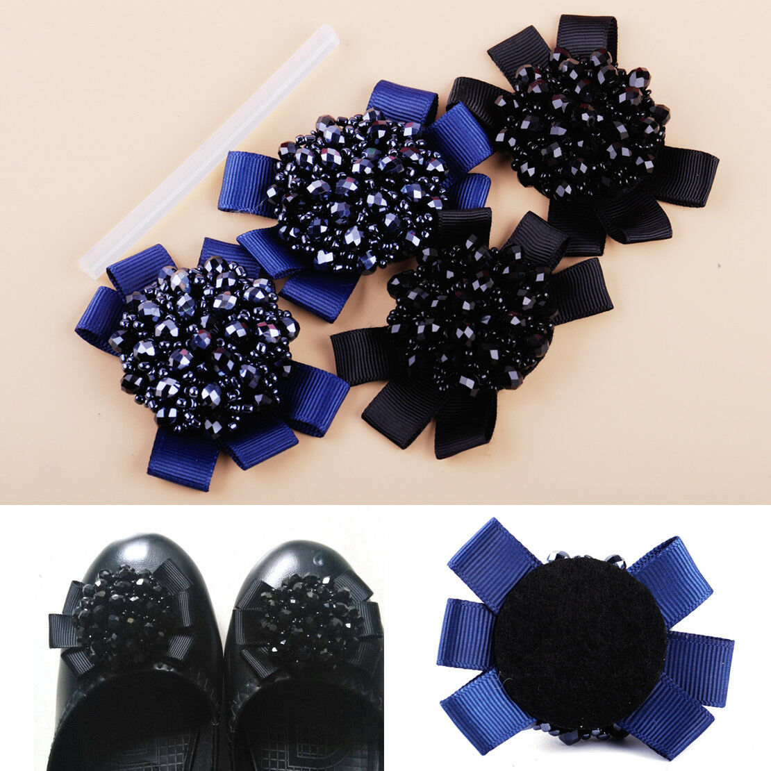 1 Pair Rhinestone Crystal Beads Bows Shoe Clips Fit For Women Charm Decoration~