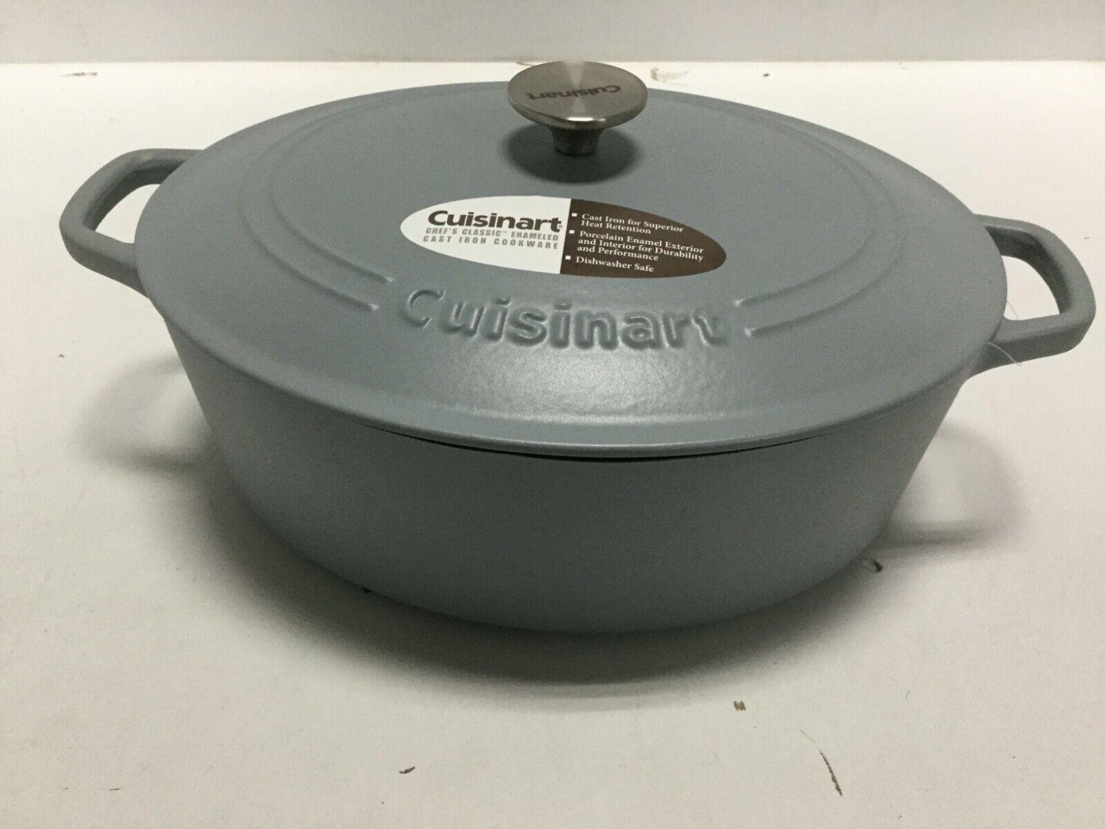 Cuisinart CI770-33GYM Oval 7 Qt. Cacerola Plato de utensilios de cocina de hierro fundido gris mate