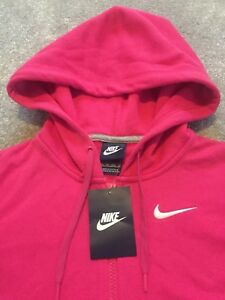 83a6a04b7 NEW Womens Nike Club Swoosh FZ Fleece Hoodie Top Casual Gym Ltd ...