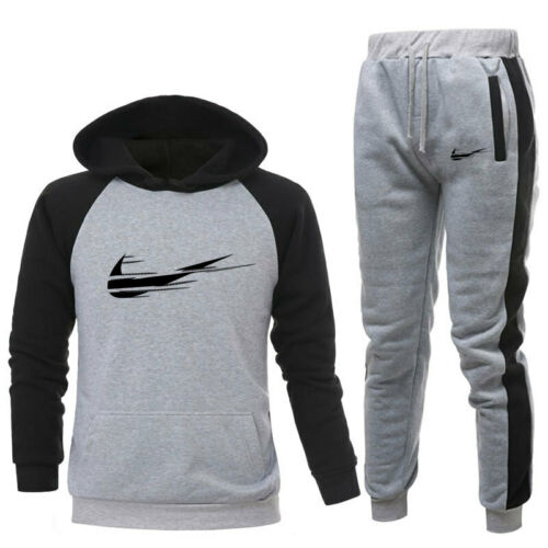 Men/'s Tracksuit Set Patchwork Hoodies Pullover Pants Bottoms Sportswear Trackies