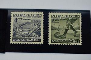 2-Vintage-1948-Nicaragua-Stamps-Managua-Stadium-amp-Football-Soccer-Futbol