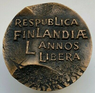 "389gr Sakki 1966 Bronze Art Medal /""Republic of Finland/"" 72 mm Finland T"