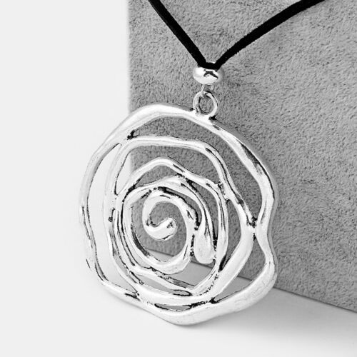 Large Antique Silver Open Spiral Swirl Flower Pendant on Suede Leather Necklace