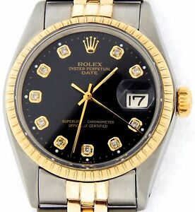 Rolex-Date-1505-Mens-Stainless-Steel-Yellow-Gold-Watch-Black-Diamond-Dial