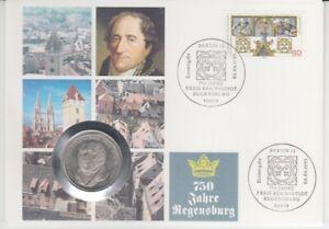 Le-Timbre-Numismatique-Allemagne-5-DM-750-Annees-Regensburg-1995