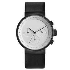 Projects Watches Kiura Bianco Cronografo Quarzo Acciaio Nero Pelle Uomo Orologio