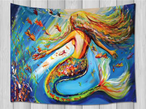 Oil Painting Colorful Mermaid Wall Hanging Tapestry Smooth Supple Multi-size