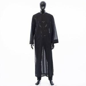 SAINT-LAURENT-1990-Long-YSL-Djellaba-In-Black-Striped-Wool-Gauze