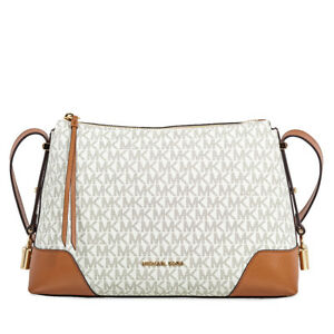 Michael Kors Crosby Medium Signature Logo Print Messenger Bag - Vanilla / Acorn