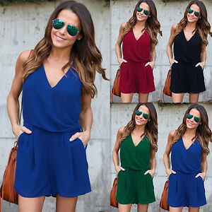 Womens Sleeveless Bodycon Playsuits Party Jumpsuit Romper Trousers Blue XL LZF02