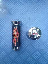 NEW LOWRIDER CHOPPER CRUISER BIKE BICYCLE FAUX LEATHER FLAME GRIPS + SKULL ENDS