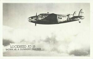 Lockheed AT-18 Bomber Gunnery Trainer Airplane WW2 Photo Postcard