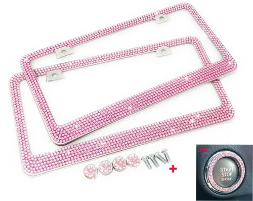 2 PCS Bling 7 Rows PINK Crystal Metal License Plate Frame Pink Ring+Free Caps