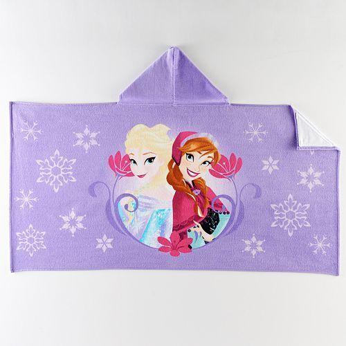 Disney Princess Frozen Sisters Elsa & Anna Bath Wrap Hooded Towel Purple NWT