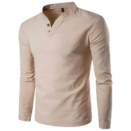 Men/'s Casual Cotton Linen Button Tops Tee Long Sleeves Solid Color Shirts Tops