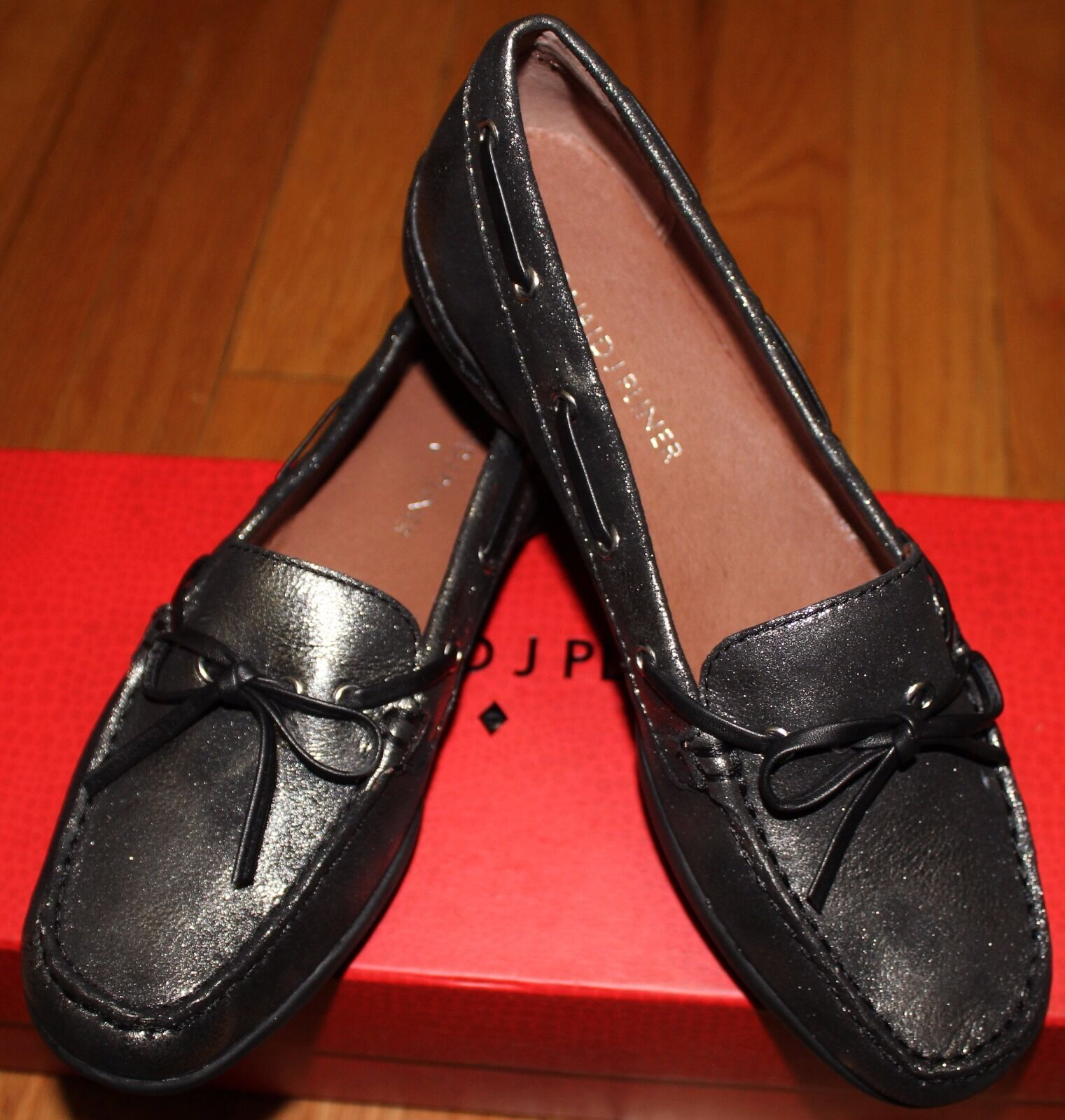160 DONALD J PLINER PEWTER DUSTED METALLIC LOAFERS SZ 5M