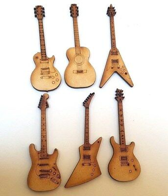 10x WOODEN ELECTRIC GUITAR GIBSON SG gift tag craft card scrapbook embellishment