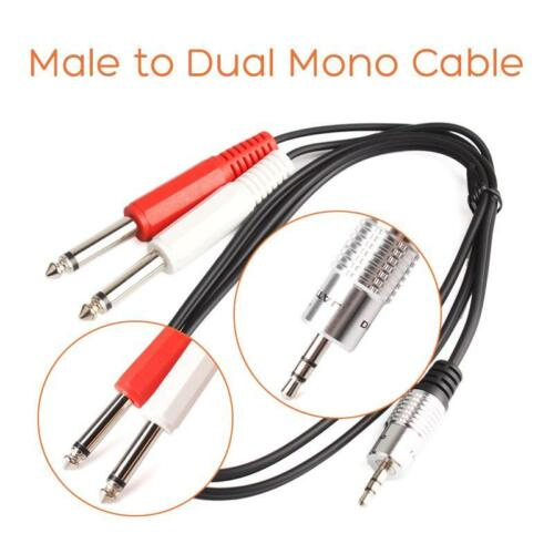 """3ft 3.5mm 1//8/"""" Stereo Male to Dual Mono 1//4/"""" 6.35mm Audio Amp Cable HF #S"""