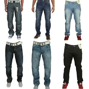 Enzo-Mens-Big-King-Size-Cargo-Combat-Casual-Work-Pants-Straight-Leg-Denim-Jeans